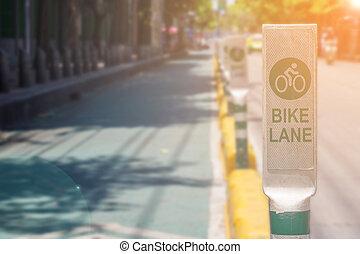 meldingsbord, laan, fiets