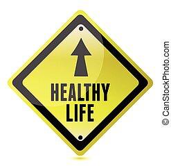 meldingsbord, leven, straat, illustratie, gezonde