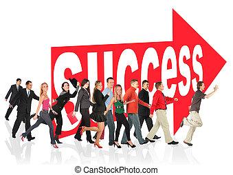 meldingsbord, mensen zaak, themed, succes, collage, uitvoeren, volgend, richtingwijzer