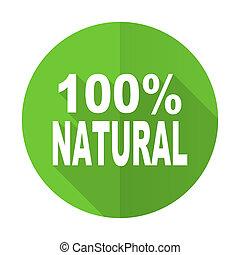 meldingsbord, natuurlijke , procent, pictogram, groene, plat, honderd