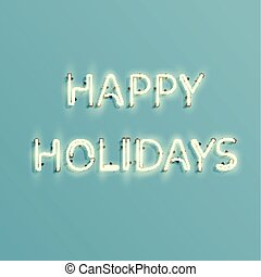 meldingsbord, neon, -, 'happy, illustratie, realistisch, vector, holidays'