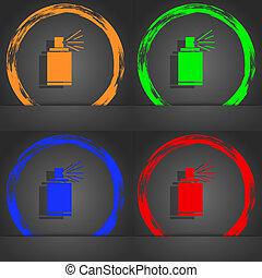 meldingsbord, nevel kun, style., aërosol, sinaasappel, icon., modieus, moderne, graffiti, verf , symbool., rood groen, blauwe , design.