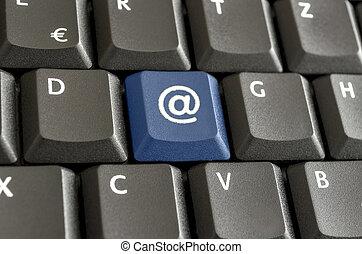 meldingsbord, @, op, computer toetsenbord