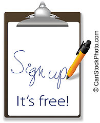 meldingsbord, op, kosteloos, klembord, pen, website,...
