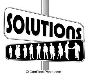 meldingsbord, oplossingen, straat, zwart wit