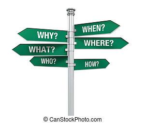 meldingsbord, richtingen, met, vraag, woorden