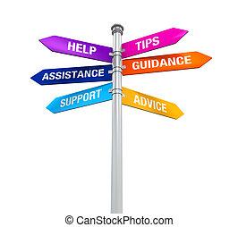 meldingsbord, richtingen, steun, helpen, tips