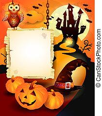 meldingsbord, sinaasappel, halloween, achtergrond
