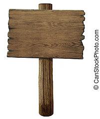 meldingsbord, straat, oud, hout, vrijstaand, leeg