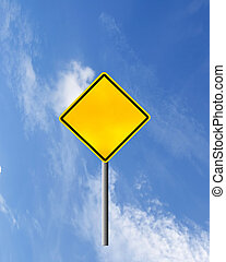 meldingsbord, straat, waarschuwend, gele, leeg
