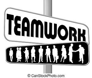 meldingsbord, teamwork, straat, zwart wit