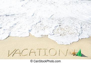 """meldingsbord, """"vacation"""", op, de, zandig strand"""