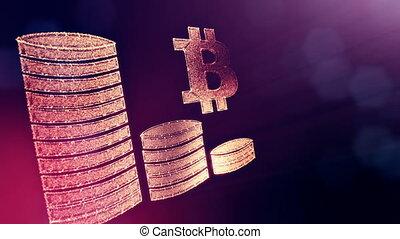meldingsbord, van, bitcoin, en, opperen, van, muntstukken., financieel, achtergrond, gemaakt, van, gloed, partikels, als, vitrtual, hologram., glanzend, 3d, lus, animatie, met, diepte van gebied, bokeh, en, kopie, space.