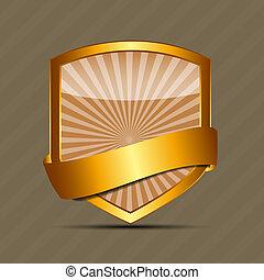 meldingsbord, vector, goud, mal, etiket