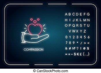 meldingsbord, vector, kleur, steun, getallen, symbols., buitenst, vriendelijk, neon ontsteken, empathy, medelijden, sympathy., gloeiend, rgb, effect., icon., vrijstaand, emotioneel, illustratie, alfabet, solidarity.
