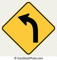 meldingsbord, verkeer, achtergrond, gebogen, transparant, straat, links