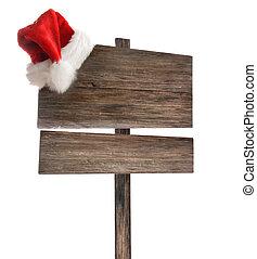 meldingsbord, verweerd, houten, kerstmuts, witte