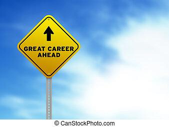 meldingsbord, vooruit, straat, groot, carrière