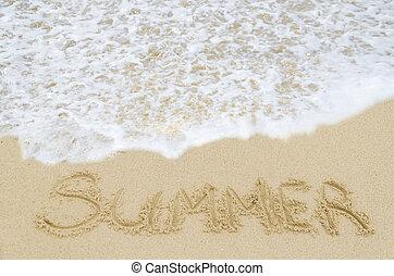 meldingsbord, zomer, op, de, zandig strand