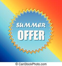 meldingsbord, zomer, zon, vector, aanbod