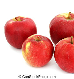 mele, fondo, bianco