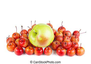 mele, grande, granchio, verde, piccolo, rosso