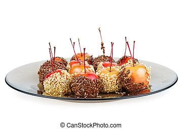 mele, mano, tuffato, granchio, isolato, caramello, sfondo bianco