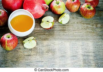 mele, miele, e, melagrane, tradizionale, cibo, per, il, ebreo