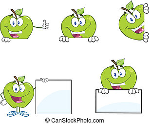 mele, segno, vuoto, verde