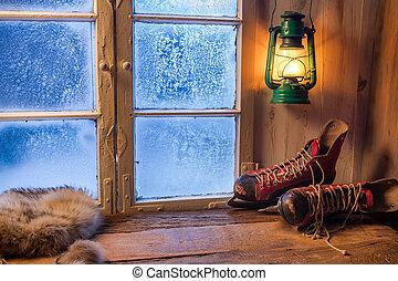 meleg, menedék, alatt, tél, jeges, nap
