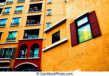 meleg, szín, épület, kilátás, oldalsó