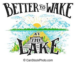 melhor, acordar, lago, ilustração