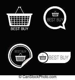 melhor, compra, ícone, branca, vetorial, ligado, pretas