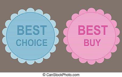 melhor, compra, e, melhor, escolha, labels.
