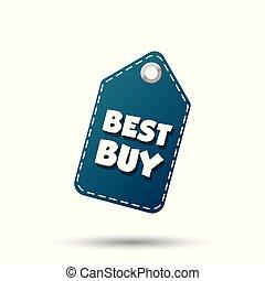 melhor, compra, enforcar, tag., etiqueta, vetorial, ilustração, branco, fundo