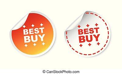 melhor, compra, stickers., vetorial, ilustração, branco, experiência.