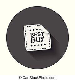 melhor, compra, stickers., vetorial, ilustração, com, longo, shadow.