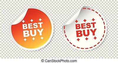 melhor, compra, stickers., vetorial, ilustração, ligado, isolado, experiência.
