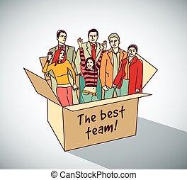 melhor, equipe negócio, grupo, pessoas, caixa