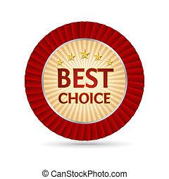 melhor, escolha, dourado, etiqueta