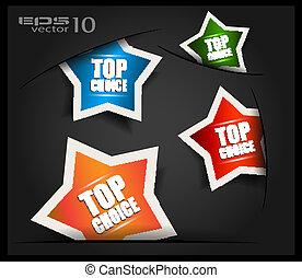 melhor, escolha, tag, ou, adesivos, collection., formas,...