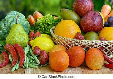 melhor, fruta, e, legumes, quadro
