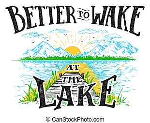 melhor, para, acordar, em, a, lago, ilustração