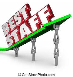 melhor, pessoal, topo, equipe ganhando, mão-de-obra, empregados, levantamento, seta