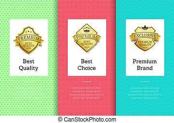 melhor, qualidade, escolha, prêmio, marca, dourado, etiqueta, jogo