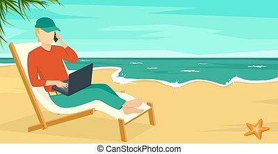 melhor, trabalho, conceito, praia, verão, mar, com, homem, e, laptop