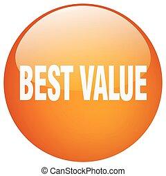 melhor, valor, laranja, redondo, gel, isolado, empurre botão