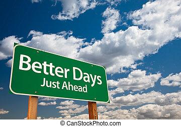 melhor, verde, dias, sinal estrada