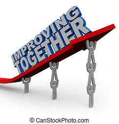 melhorar, junto, equipe, levanta, seta, para, crescimento,...
