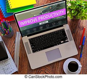 melhorar, produtividade, conceito, ligado, modernos, laptop, screen.